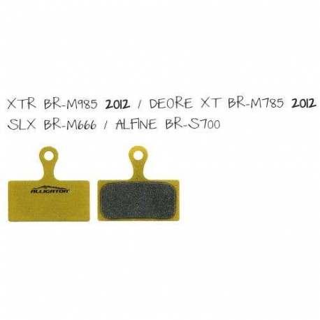 Coppia pastiglie Alligator sinterizzate, compatibili con Shimano XTR(BR-M958) - Deore XT(BR-M785) - SLX(BR-M666) Alfine(BR-S700)