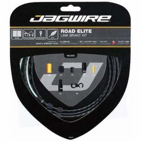 Kit Road Jagwire Guaina di Connettori Alluminio e Cavo Freno Nero