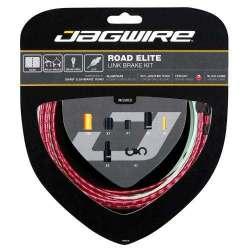 Kit Road Jagwire Guaina di Connettori Alluminio e Cavo Freno Rosso