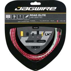 Kit Road Jagwire Guaina di Connettori Alluminio e Cavo Cambio Rosso